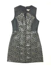 Womens Jacquared Animal Print Shift Dress Christmas Party Medium Faux Leather