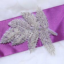 Leaves Leaf Hair Head Acrylic Beaded Wedding Sash Craft Applique DIY