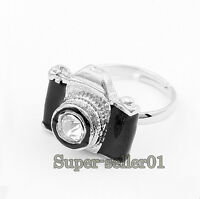 1* Fashion girls exquisite rhinestone diamond  rhine camera  retro elegant rings
