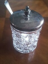 F. B. Rogers Vintage Crystal Condiment Jar With Silver Lid And Sterling Spoon