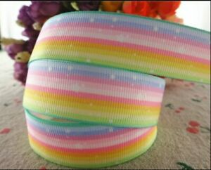"RAINBOW STRIPES Grosgrain RIBBON 1m x 22mm width (7/8"") birthday cake hair bow"