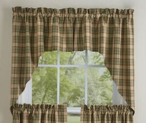 """Sequoia Sage Tan Brown Plaid Rustic Country Farmhouse Cotton Swags 72"""" x 36"""""""