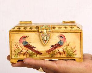 Vintage Look Decorative Hand Painted Sparrow Solid Camel Bone Trinket Box 11083