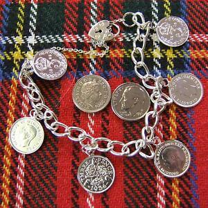 SILVER second hand solid charm bracelet with coins