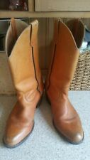 Mens Boots Size 10 m full leather Vintage Retro Cowboy Boots