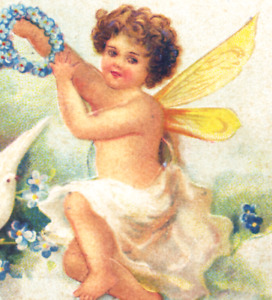 Valentine~CLAPSADDLE?~CUPID w KEY TO HEART~BUTTERFLY WINGS~Antique Postcard~IAPC