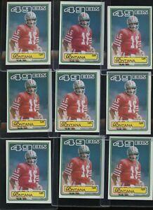 Investor Lot of (9) 1983 Topps Football #169 Joe Montana San Francisco 49ers HOF