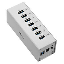 Xcellon 7-Port Powered USB 3.0 Aluminum Hub (Silver)