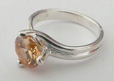 Ring orangener Edelstein rhodiniert Silber 925 Vintage 90er ring