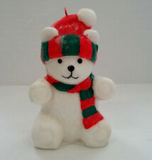 vintage Christmas white bear with red green scarf hat wax candle winter decor