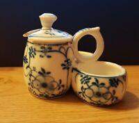 Antiguo Mostacera Porcelana Con Compartimientos Sal Y Pimienta