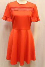 NEW Ted Baker Lace Insert Skater Dress Red Orange TB Size 4 US 10 M L $295