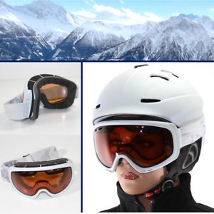 DAMEN Skibrille S2 orange getönt Anti Fog Panorama Optik Brille weiß yx32 3763
