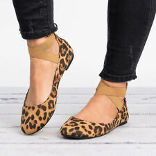 Women Casual Ballet Flat Shoes Leopard Print Pointed Toe Criss Cross Bandage US