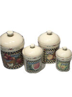 Certified International Corp 4 piece Canister Set Susan Winget Fruits & Hearts