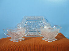 Indiana Sandwich Glass Creamer Sugar Bowl Tray Crystal Daisy Vintage 1920s