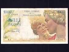 French Equatorial Africa 1000 Francs  P-26  1947  aVF