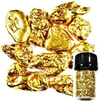 200 PIECE ALASKAN NATURAL PURE GOLD NUGGETS WITH BOTTLE FREE SHIPPING (#B251)