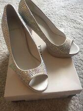 Carvela @ Kurt Geiger Cream Guess Embellished Rhinestone Peep-toe Platform Shoes