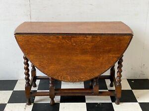 Antique / vintage oval oak drop leaf dining table on barley twist legs -Delivery