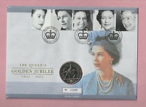 G.B. Coin cover, The Queen's golden jubilee, 2002. Royal mint £5 coin