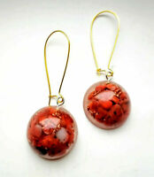 """Orgone pendant earrings """"Red"""" Red Agate, copper, stones and crystals, chakras"""