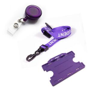 STUDENT Lanyard J-Clip ID Badge Holder & Retractable Non Twist Badge Reel Purple