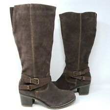 Bjorndal Women's Piper Harness Riding Boots Sz 9M Brown Stiched Suede Stack Heel