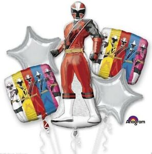 """GIANT 42"""" POWER RANGERS FOIL BALLOON BOUQUETS - 5 BALLOONS HELIUM OR AIR FILL"""