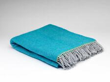 McNutt Irish Belle Teal Herringbone Blanket Throw - Made in Ireland 100% Wool