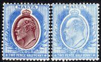 Malta 1904 maroon/blue 2.5d blue 2.5d multi-crown mint SG52/53