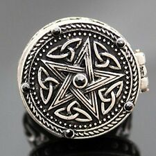 Poison Ring Vintage Silver Tribal Celtic Trinity Knot Star Carved Locket US 7
