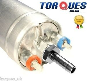"""Bosch 044 Fuel Pump With Push On Fittings - 15mm Input /8mm (5/16"""") Output BLACK"""