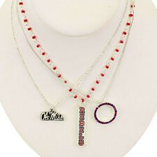 University of MISSISSIPPI OLE MISS REBELS 3 STACKED NECKLACE SET trio necklaces