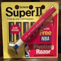 RARE Vintage Schick Super II Razor w/ 5 Cartridges - Fits Gillette Atra Trac II