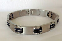 Men's Brushed  Stainless Steel With Black Rubber Link  Bracelet 8.5 inches