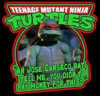 """90's Classic Teenage Mutant Ninja Turtles Raphael """"Jose Canseco Bat"""" custom tee"""