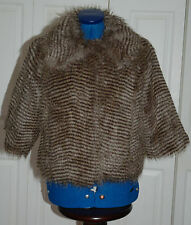NEW 10-11 Yrs OR UK8 Brown Faux Fur 3/4 sleeve crop Jacket Coat Wedding