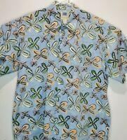 Kahala AVI Mens XL Hawaiian Camp Blue Floral Design Green Front Pocket