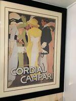 "CORDIAL CAMPARI ITALIAN LIQUEUR PRINT BY MARCEL DUDOVICH 36""H x 28""W FRAMED"