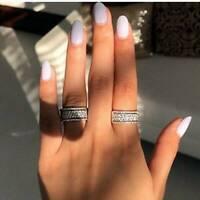 Elegant Jewelry 925 Silver Rings Women White Sapphire Wedding Rings Size 6-10