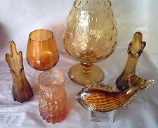 vintage retro art glass FINGER VASE amber 19cm