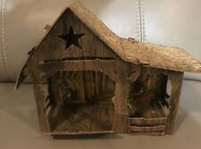 Vintage 1940S Nativity Creche Manger Stable For Paper Mache Figures Cardboard