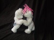 "Sweeties Progressive Plush White Teddy Bears Pink Ribbons Valentine's Day 8"""