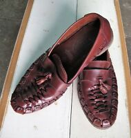 SHOES Genuine LEATHER Upper Slip ons Loafers Woven Casual Brown Slatters Size 9