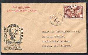CANADA = 1st Flight Cover - COLE to McKENZIE ISLAND. 16.08.1935. R.C.M. POLICE.