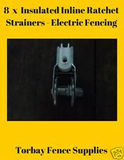 8 x Insulated Inline Ratchet Electric Fence Strainers