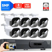 5MP PoE IP Outdoor Microphone Home Security Camera System 8CH H.265 NVR Kit 2TB