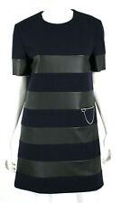 STELLA McCARTNEY Midnight Wool & Black Vegan Leather Striped Shift Dress 42