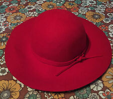 VTG Scala Officially Licensed Red Hat Society Wide Brim Floppy 100% Wool Hat Cap